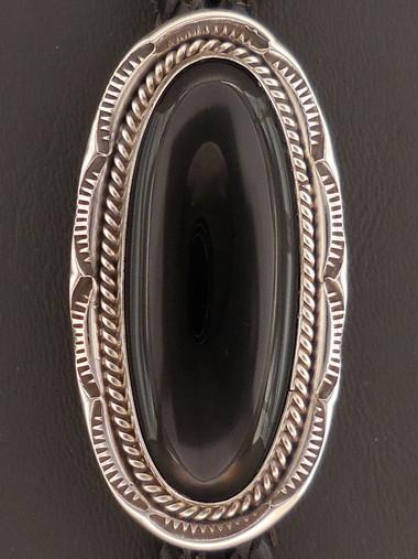 Native American Handmade Black Onyx Bolo Tie Sterling Silver