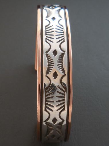 Navajo Handmade Copper and Sterling Silver Bracelet