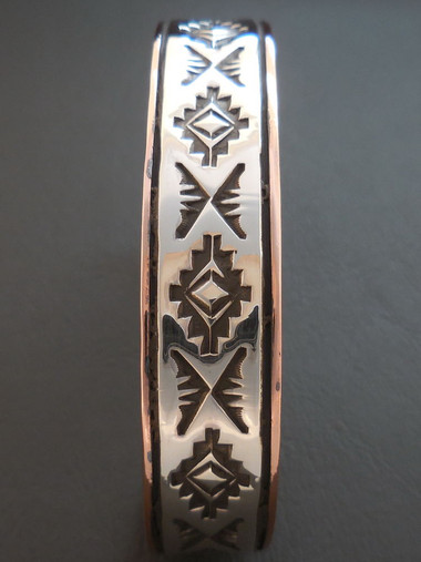 Native American Handmade Copper Bracelet Sterling Silver