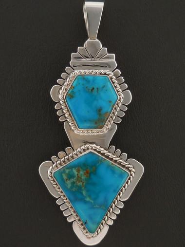 Custom Native American Handmade Pendant Blue Gem Turquoise