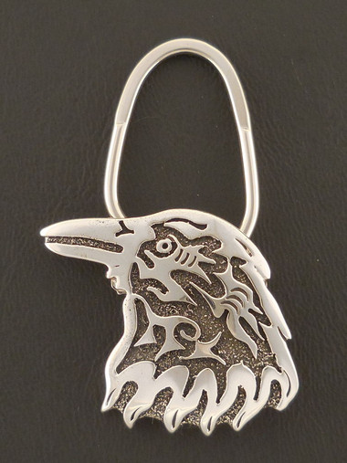 Native American Raven Key Ring Handmade Sterling Silver