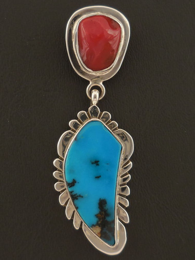 Turquoise Feather Pendant Native American Handmade of Sterling Silver by Sam Gray