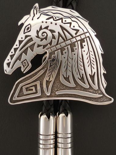 Custom Sterling Silver Medicine Horse Bolo Tie