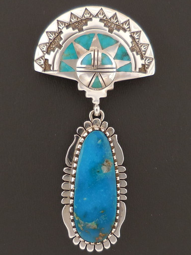 Native American Shalako Pendant with Blue Gem Turquoise by Sam Gray