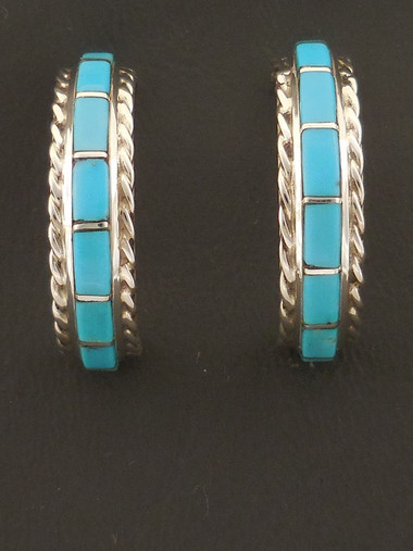 07cb16ad0 Turquoise Inlay Hoop Earrings | Native American - Zuni Inlay
