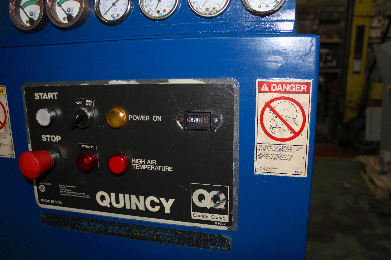 Quincy 100Hp Rotary Screw Air Compressor Air Cooled QSI-490, 500 CFM, 125 PSI