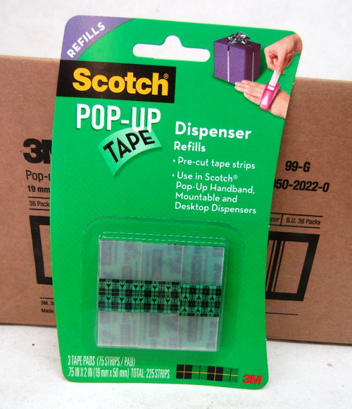 """Scotch Pop-Up Tape Refills - 3 Tape Pads (75 strips/pad), 2""""x0.75"""" - Case of 36"""