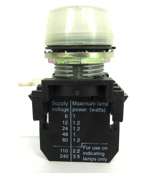Cutler-Hammer White Pilot Light E22D Series A2 Contact Block 250 Volts