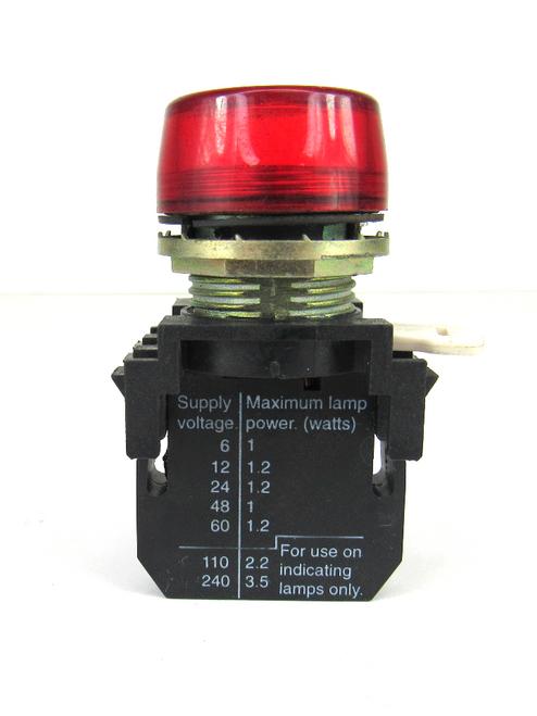 Cutler-Hammer Red Pilot Light E22D Series A2 Contact Block 250 Volts
