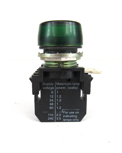 Cutler-Hammer Green Pilot Light E22D Series A2 Contact Block 250 Volts