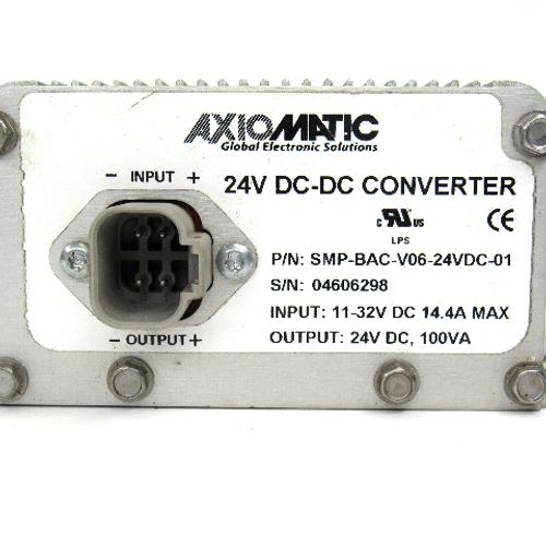 Axiomatic SMP-BAC-V06-24VDC-01 Voltage Converter, Input: 11-32V DC, 14.4 Amp Max, Output: 24V DC, 100 VA