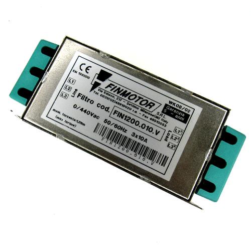 Finmotor FIN1200.010.V Line Filter, 0/440V AC, 50/60Hz, 3x10Amp