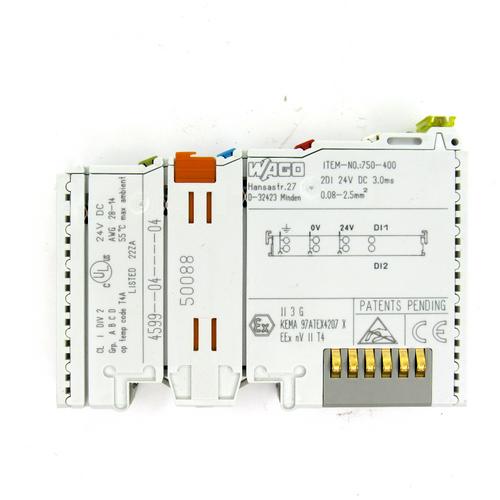 Wago 750-400 Digital Input Module, 24V DC, 4.5 mA, 2-Channel, 2 Digital Inputs