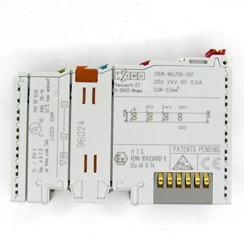 Wago 750-501 Digital Output Module, 2-Channel, 24V DC, 0.5 Amp