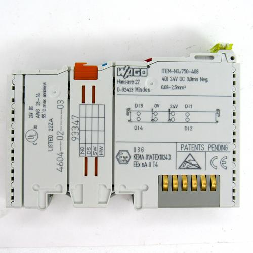Wago 750-408 Digital Input Module, 4-Channel, 24V DC, 3MS