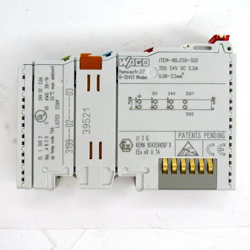 Wago 750-502 Digital Output Module, 24V DC, 2.0 Amp, 2-Channel