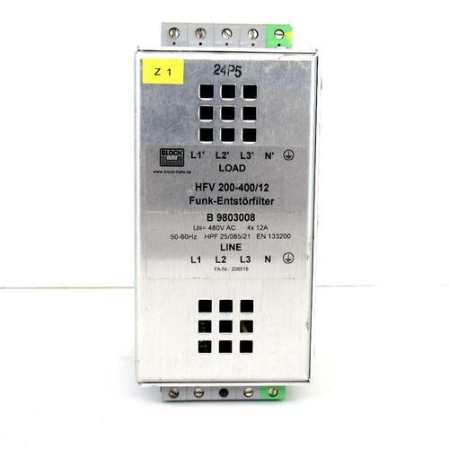 Block Funk-Entstorfilter HFV 200-400/12 RFI Filter Module, 480V AC, 50/60Hz, 12A