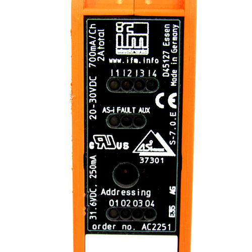 IFM AC2251 Interface Control Cabinet Module, 20~30V DC, 4 Digital Input and Outputs, 4000mA