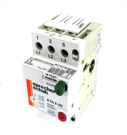 Sprecher+Schuh KTA3-25 Manual Motor Starter, Adjustable Overload, 6.3 - 10 Amp