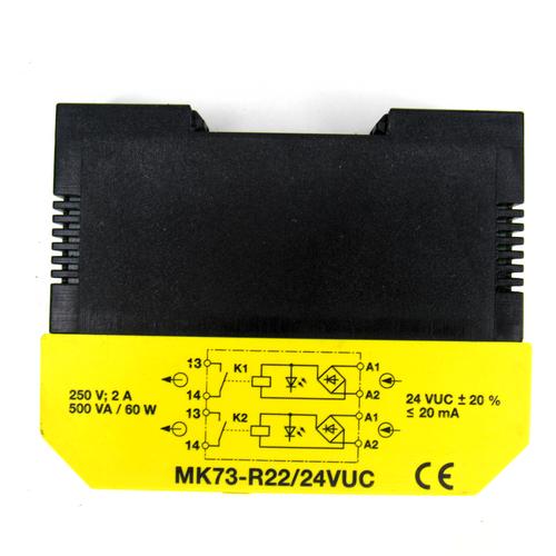 Turck MK73-R22/24VUC Relay Coupler Module, 250V, 2 Amp, 60W, 500VA, 24VUC, <20mA