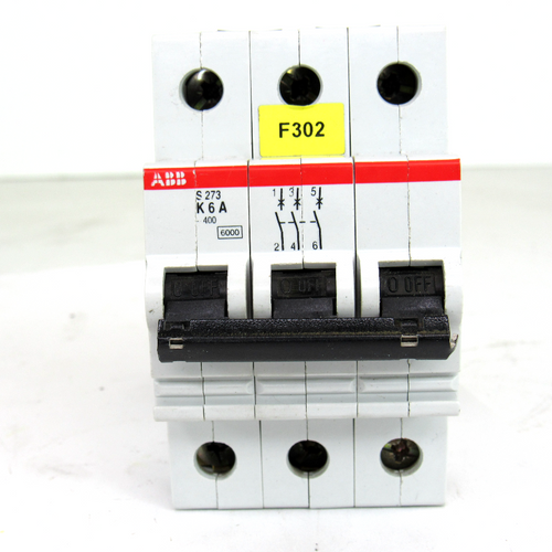 ABB S273 K6A Circuit Breaker, 3-Pole, 6 Amp, 400V AC
