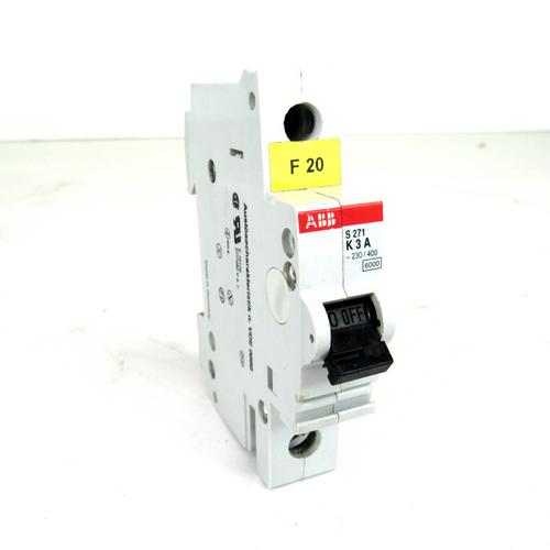 ABB S271 K3A Circuit Breaker, 230/400V, 277/480V AC, 3 Amp, 1-Pole
