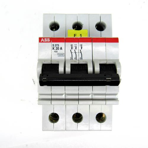 ABB S273 K20A Circuit Breaker, 20 Amp, 3-Pole, 277/480V AC