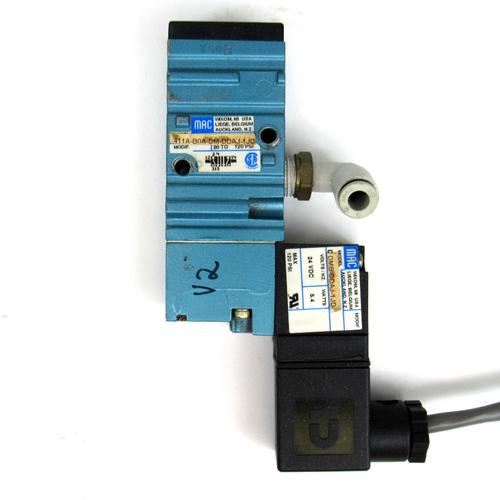 Mac Valves 411A-B0A-DM-DDAJ-1JD Solenoid Valve, 20-120PSI, 5.4 Watt, 24V DC