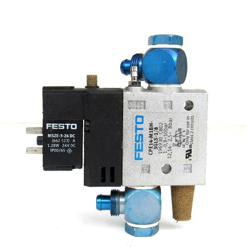 Festo CPE14-M1BH-3GLS-1/8 Solenoid Valve, 24V DC, 3/2 Way, 2.5~8 Bar, 3-Port, w/ MSZE-3-24 DC Coil