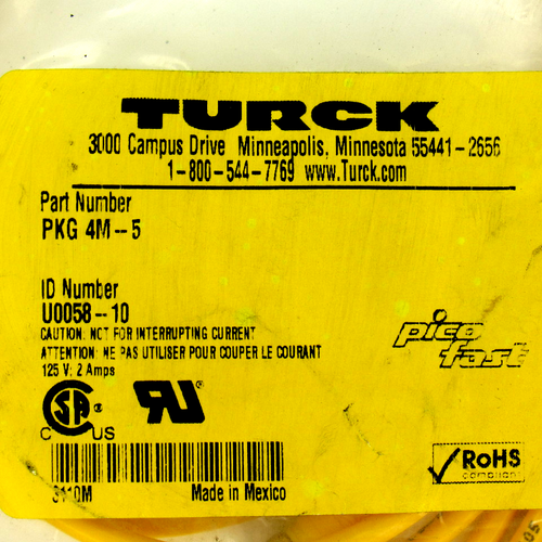 Turck PKG 4M-5 Actuator and Sensor Cordset, 125V, 2 Amp
