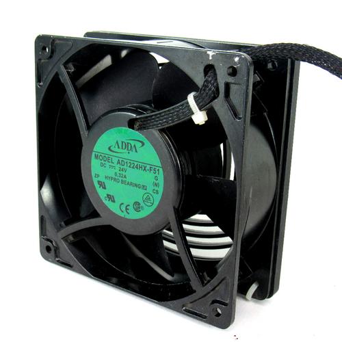 ADDA AD1224HX-F51 DC Axial Fan, 24V DC, 0.32 A, 104.8 CFM, 42.8 DBA - Lot of 2