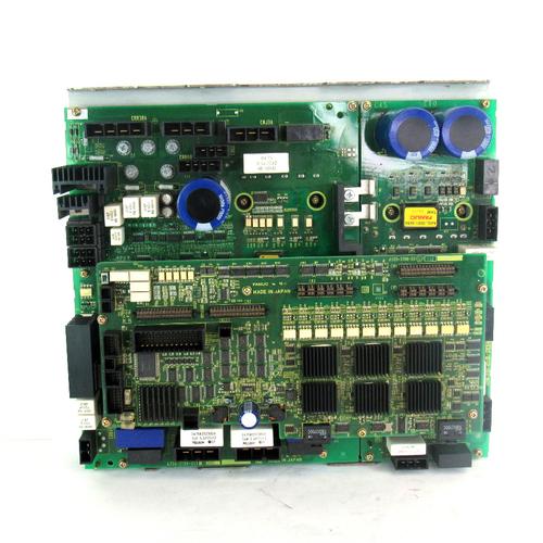 Fanuc A20B-2101-0511 6 Axis Servo Drive Power Board, w/ A20B-2101-0231 PC Board, and A16B-3200-0610 Servo Amplifier Board, USED