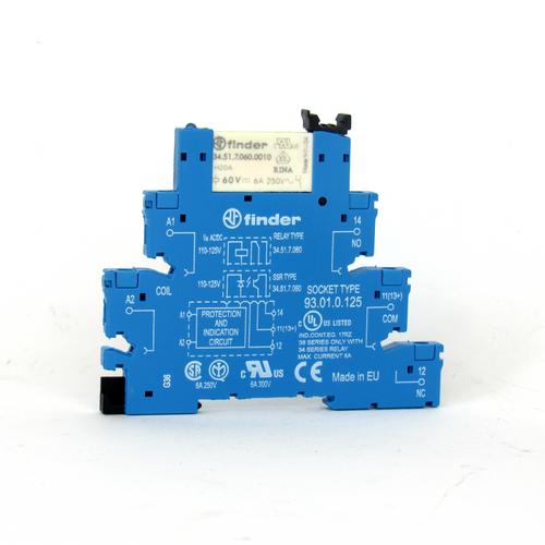 Finder 93.01.0.125 Relay Socket w/ Relay, 250V