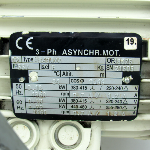 M863A/4 3-Phase Asynchronous Motor, 380-415/220-240/440-480V, Used