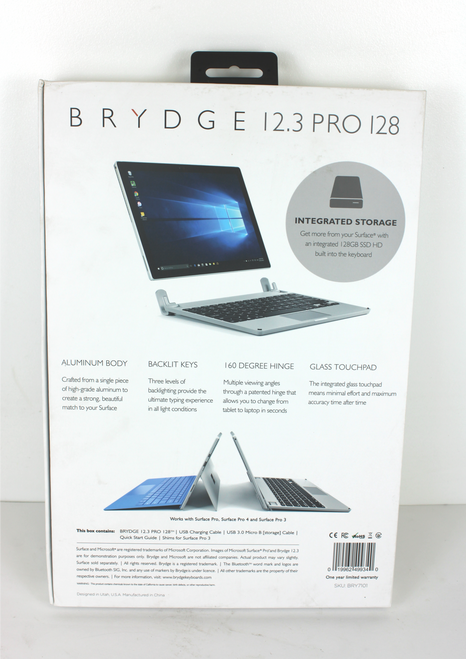 """Brydge 12.3"""" Bluetooth Keyboard for Microsoft Surface Pro with 128GB SSD"""