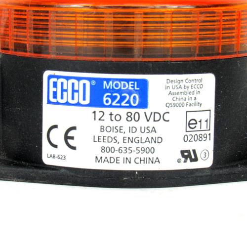 Ecco 6220 Amber Strobe Light, 12-80V DC
