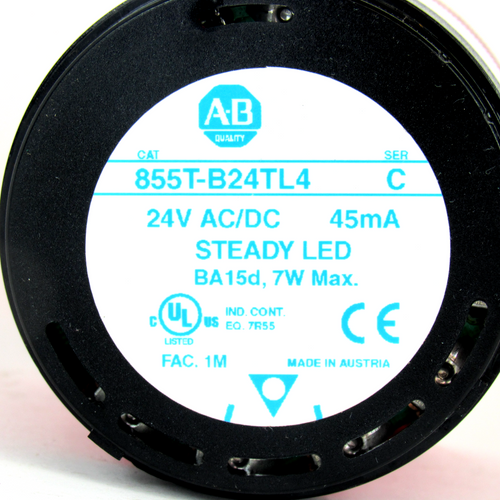 Allen Bradley 855T-B24TL4 Ser. C Red Steady LED Stack Light, 24V AC/DC