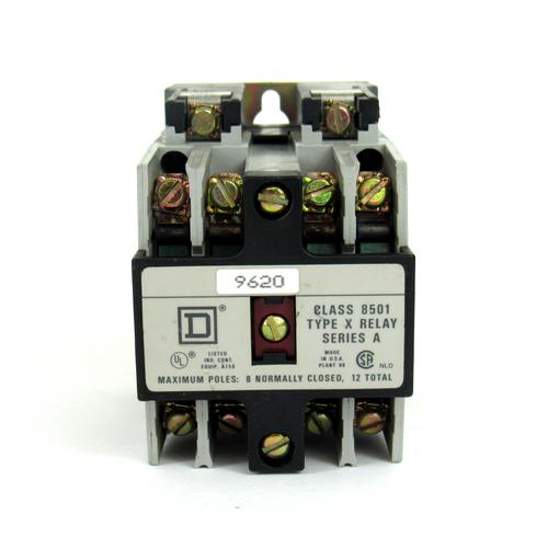 Square D 8501 X040 Ser. A Industrial Control Relay, 110/120V