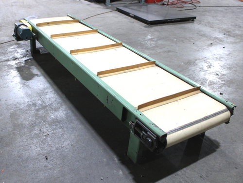 """107"""" Long x 23"""" Wide Cleated Belt Conveyor with 1/3 HP, 1725 RPM Reliance Motor"""