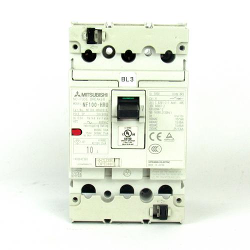 Mitsubishi NF100-HRU3010 No-Fuse Circuit Breaker, 10 Amp, 3-Pole