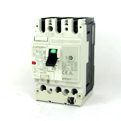 Mitsubishi NV100-HRU3015 No-Fuse Circuit Breaker, 15 Amp, 120-240-480V AC