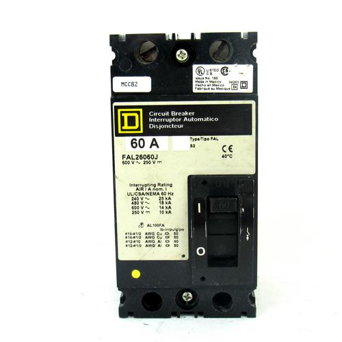 Square D FAL26060J Circuit Breaker, 60 Amp, 2-Pole, 600~250V