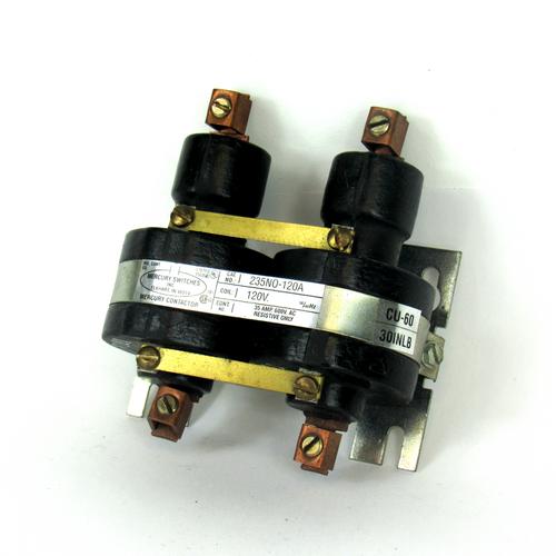 Mercury Switches 235NO-120A Mercury Contactor, 2-Pole, 120/600V AC