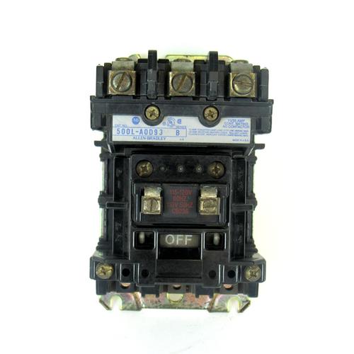 Allen Bradley 500L-A0D93 Ser. B AC Contactor, 600V AC Max. 15/20 Amp