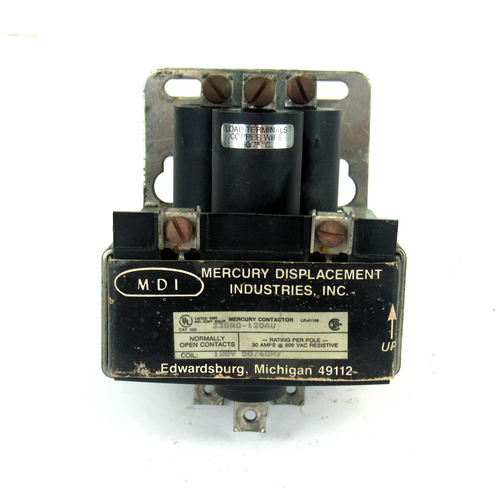 MDI 330NO-120AU Mercury Contactor, 600V AC, 3-Pole