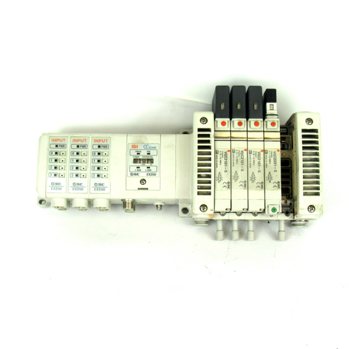 SMC EX250-SMJ2 SI Manifold Unit w/ 4 VQC2101-5 Solenoid Valves
