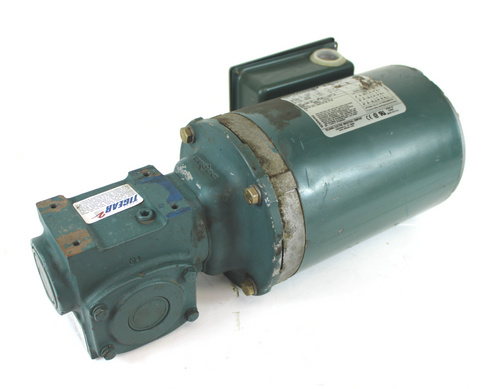 Reliance Electric P56X1337G Electric Motor, 3/4HP, 1725RPM, 230/460V w/ Dodge Tigear MR96100L1 Right Angle Speed Reducer, 1.33HP, 5:1