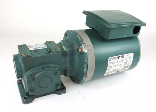 Reliance Electric P56X1337H Electric Motor, 3/4HP, 1725RPM, 230/460V w/ Dodge Tigear 13Q05R56 Right Angle Speed Reducer, 1.32HP, 5:1