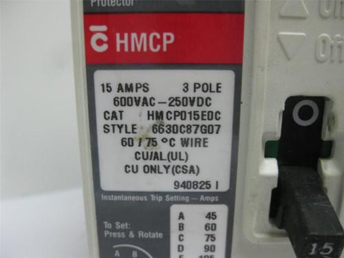 Cutler Hammer HMCP015E0C Circuit Breaker 15 Amp 600V