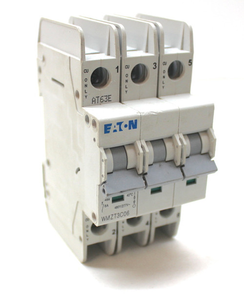 Eaton WMZT3C06 Circuit Breaker 3 Pole, 6A, 480/277V Din Rail Mount
